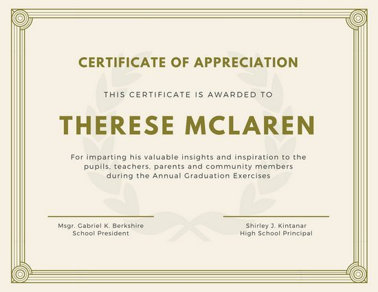 Certificate Of Recognition Template Customize 89 Appreciation Certificate Templates Online