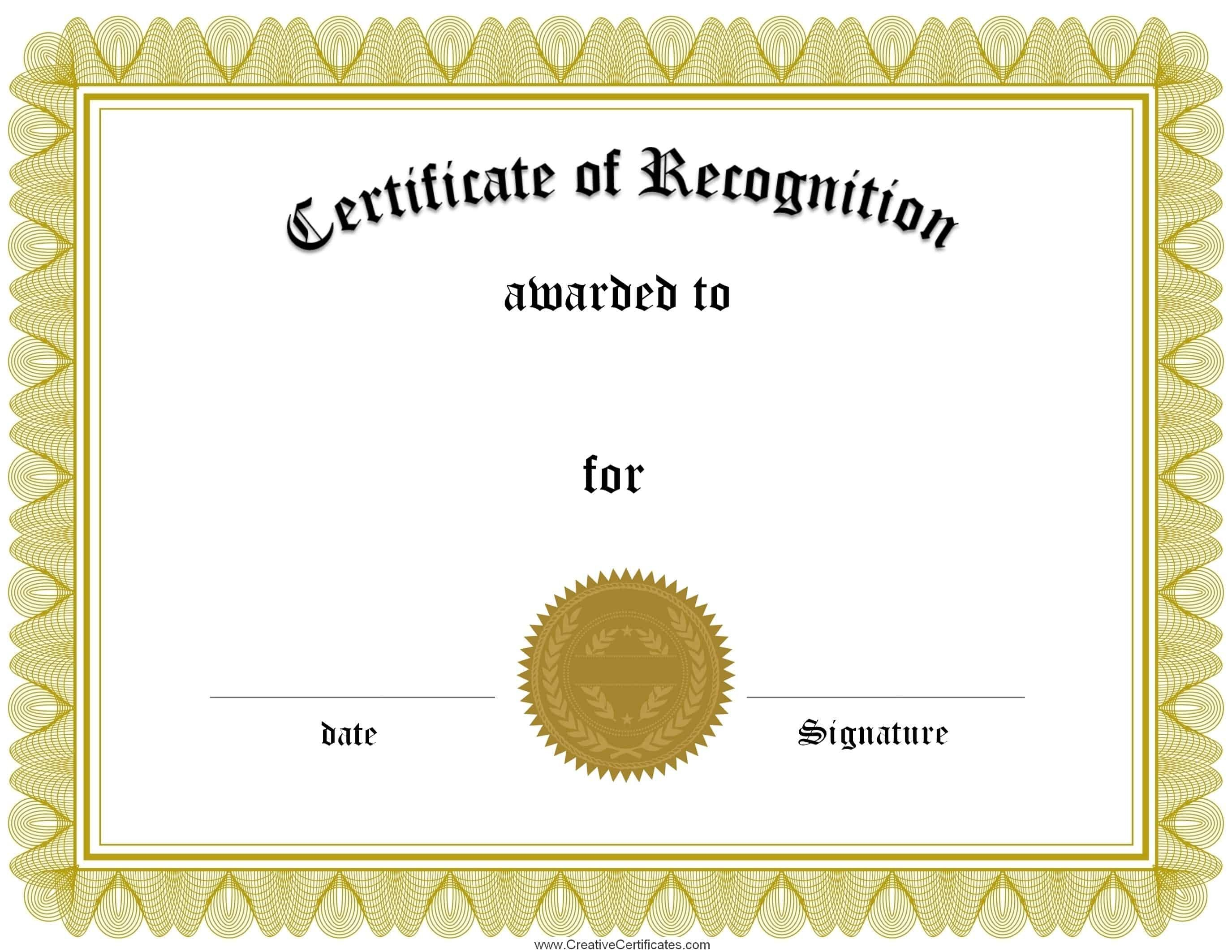 Certificate Of Recognition Template Free Certificate Of Recognition Template
