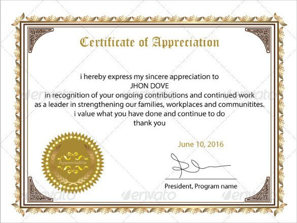 Certificate Of Recognition Template Sample Certificate Of Appreciation Templates 35