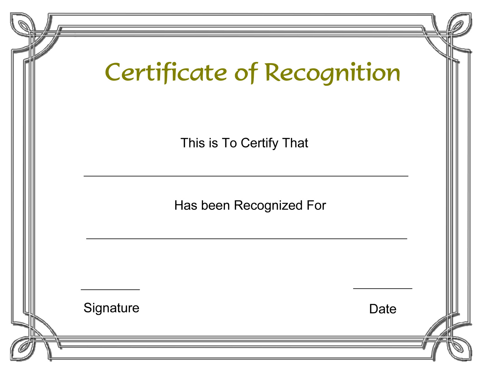 Certificate Of Recognition Template Template Free Award Certificate Templates and Employee