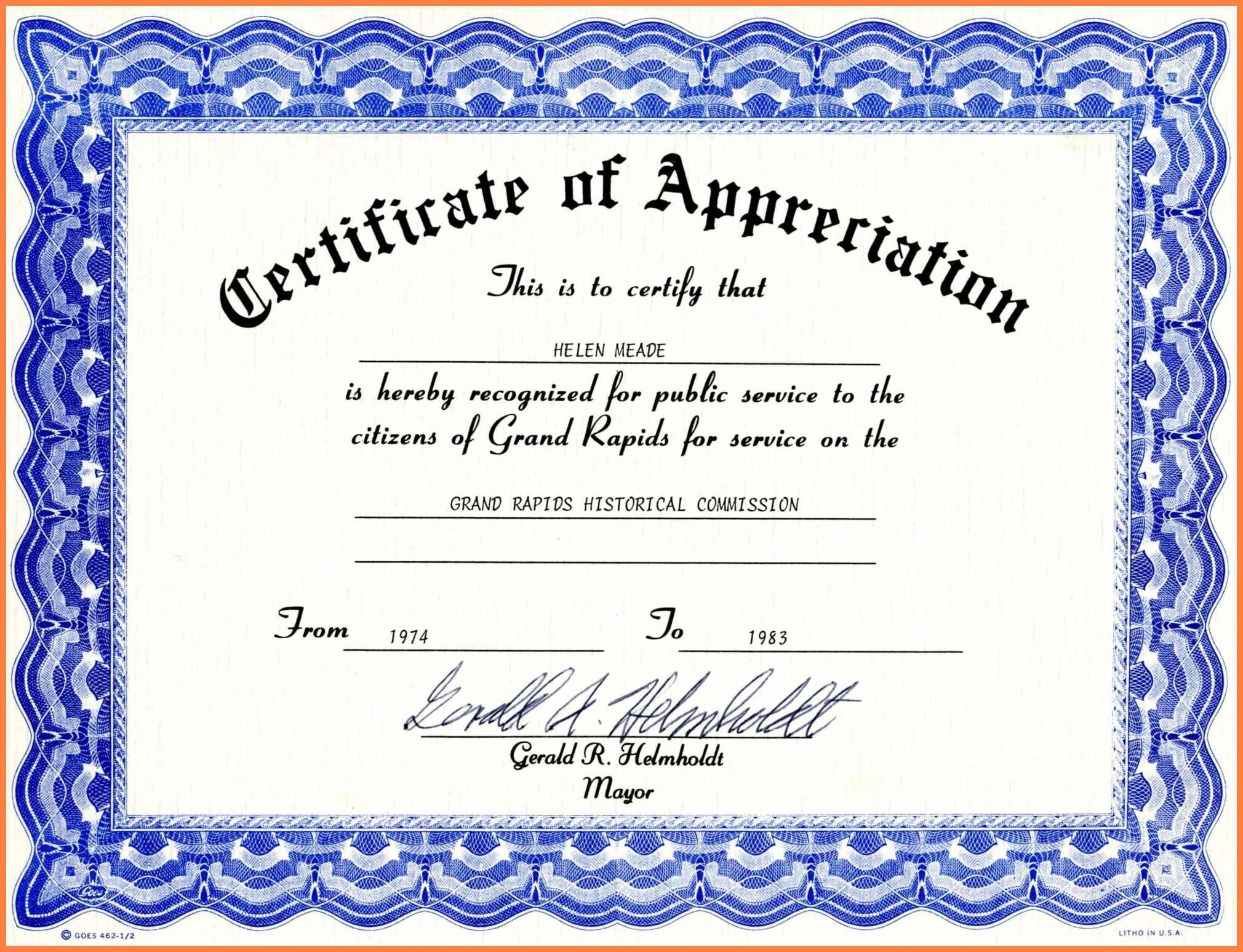 Certificate Of Recognition Template Word Certificate Appreciation Template Word Free Download