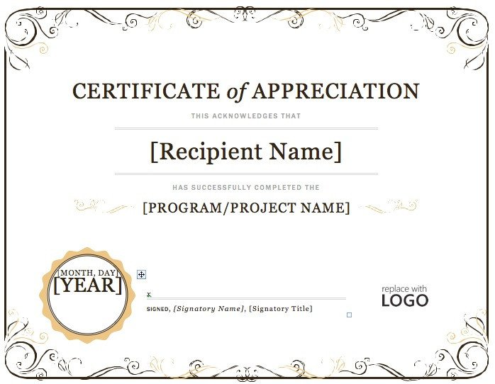 Certificate Of Recognition Template Word Certificate Appreciation Templates for Word Alex