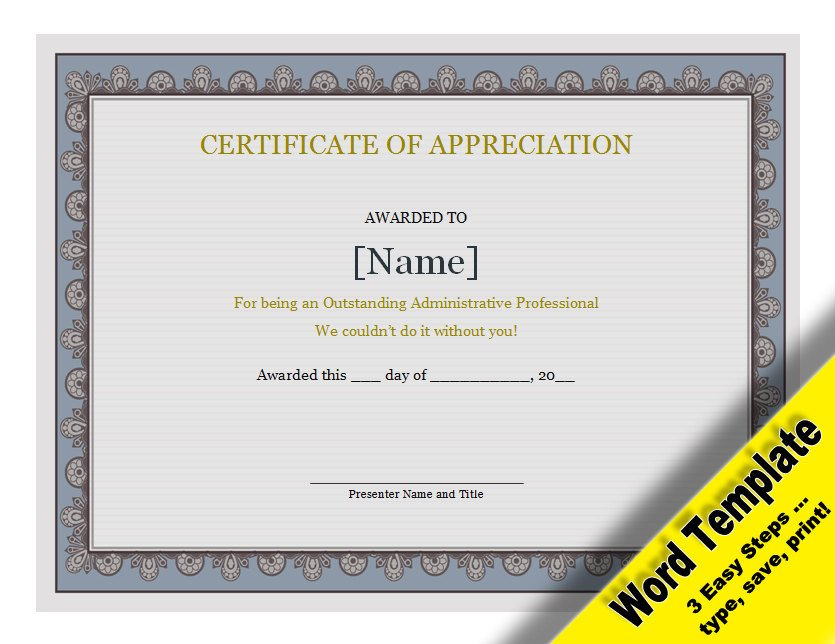 Certificate Of Recognition Template Word Certificate Of Appreciation Editable Word Template
