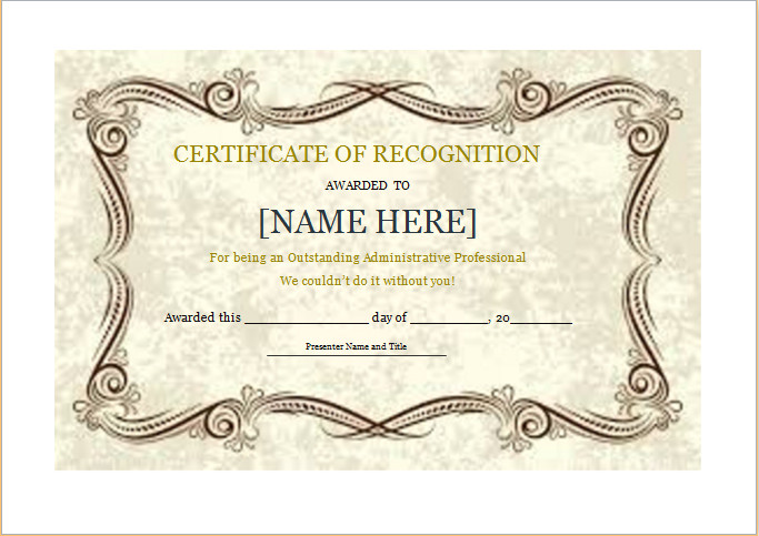 Certificate Of Recognition Template Word Certificate Of Recognition Template for Word