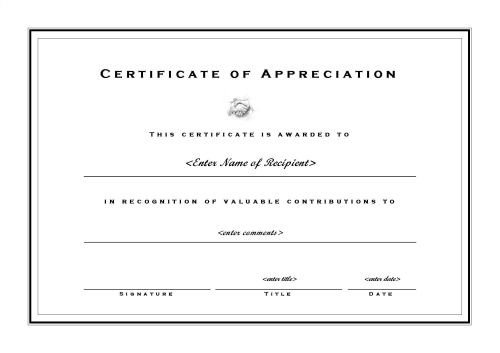 Certificate Of Recognition Template Word Certificates Of Appreciation 002