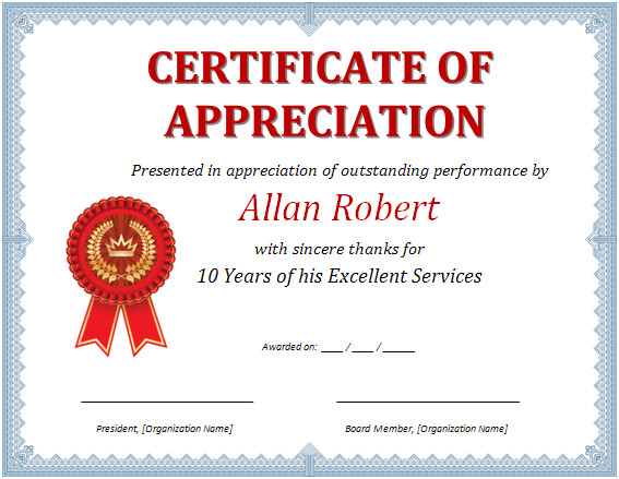 Certificate Of Recognition Template Word Ms Word Certificate Of Appreciation