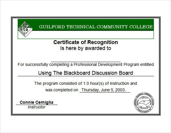 Certificate Of Recognition Template Word Recognition Certificate Template 7 Download Free