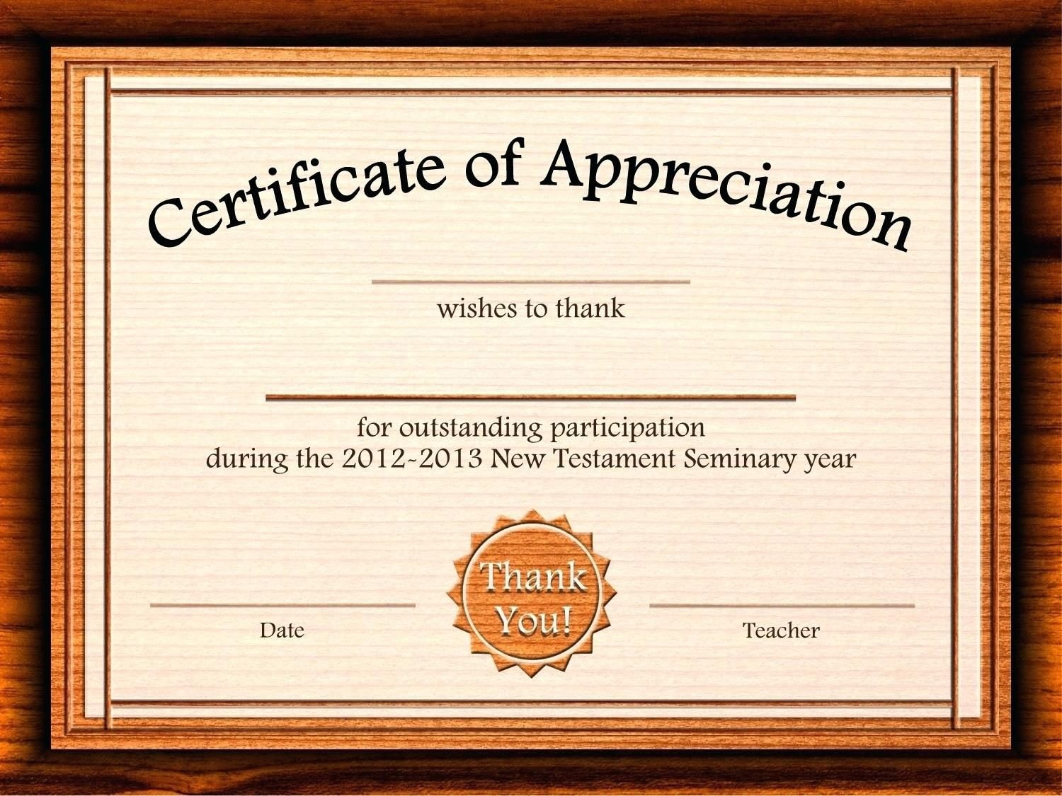 Certificate Of Recognition Template Word Template Editable Certificate Appreciation Template