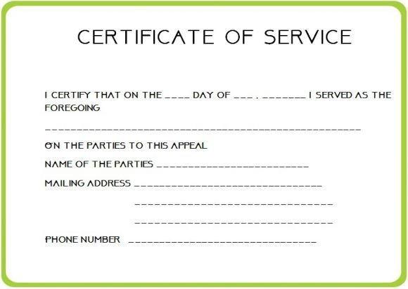 Certificate Of Service Template 12 Service Certificate Templates
