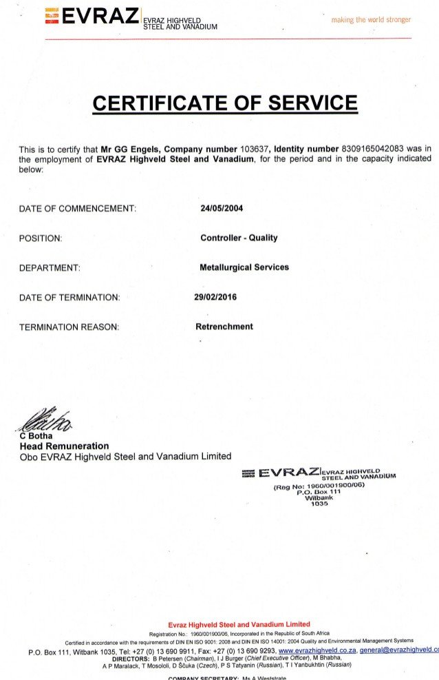 Certificate Of Service Template Certificate Of Service Retrenchment