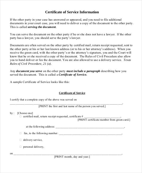 Certificate Of Service Template Certificate Of Service Template 11 Word Pdf Psd Ai