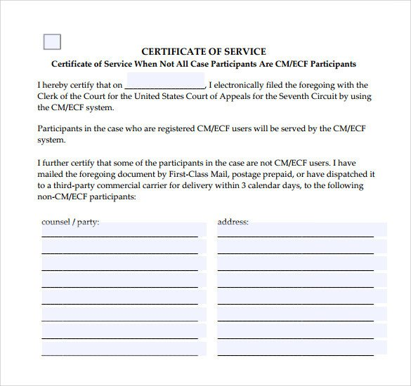 Certificate Of Service Template Certificate Of Service Template 13 Download Documents