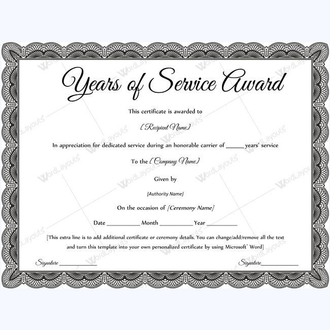 Certificate Of Service Template Sample Years Service Award Awardcertificate