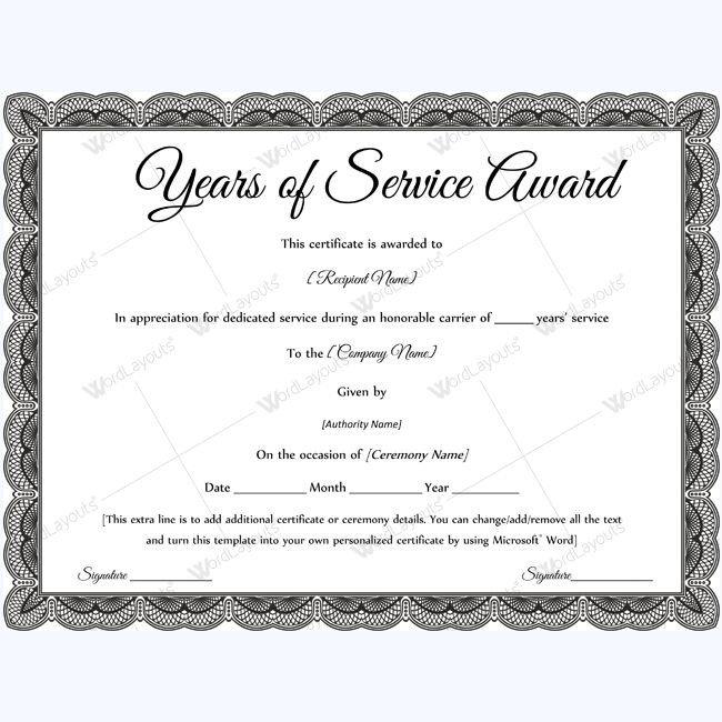 Certificate Of Service Template Sample Years Service Award Awardcertificate