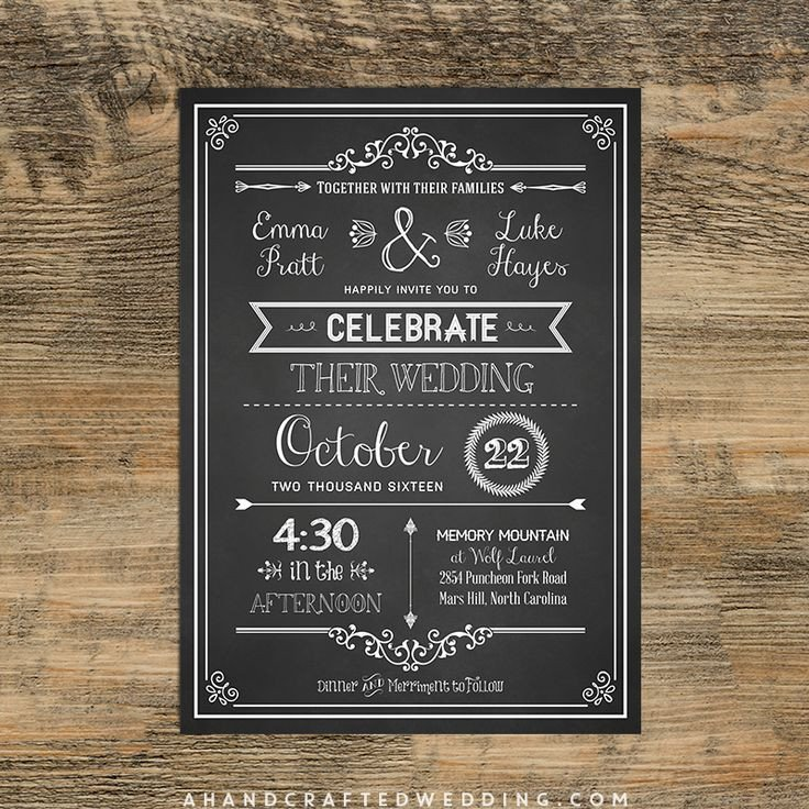 Chalkboard Invitation Template Free Check Out This Diy Chalkboard Wedding Invitation Template