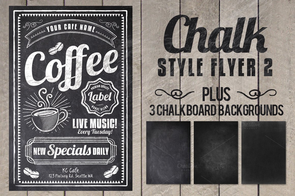 Chalkboard Poster Template Free Chalk Flyer Flyer Templates On Creative Market
