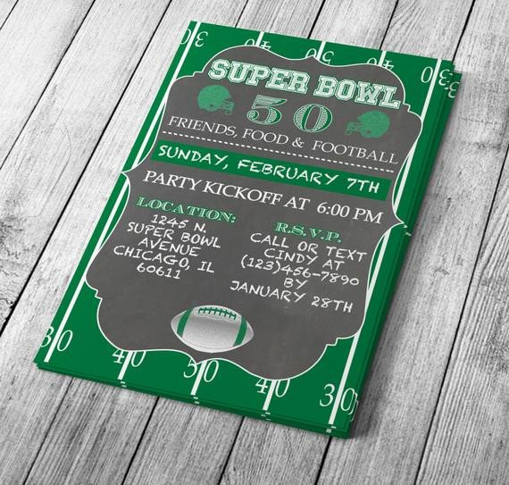 Chalkboard Template Microsoft Word Chalkboard Super Bowl Invitation Editable by Mydiydesigns