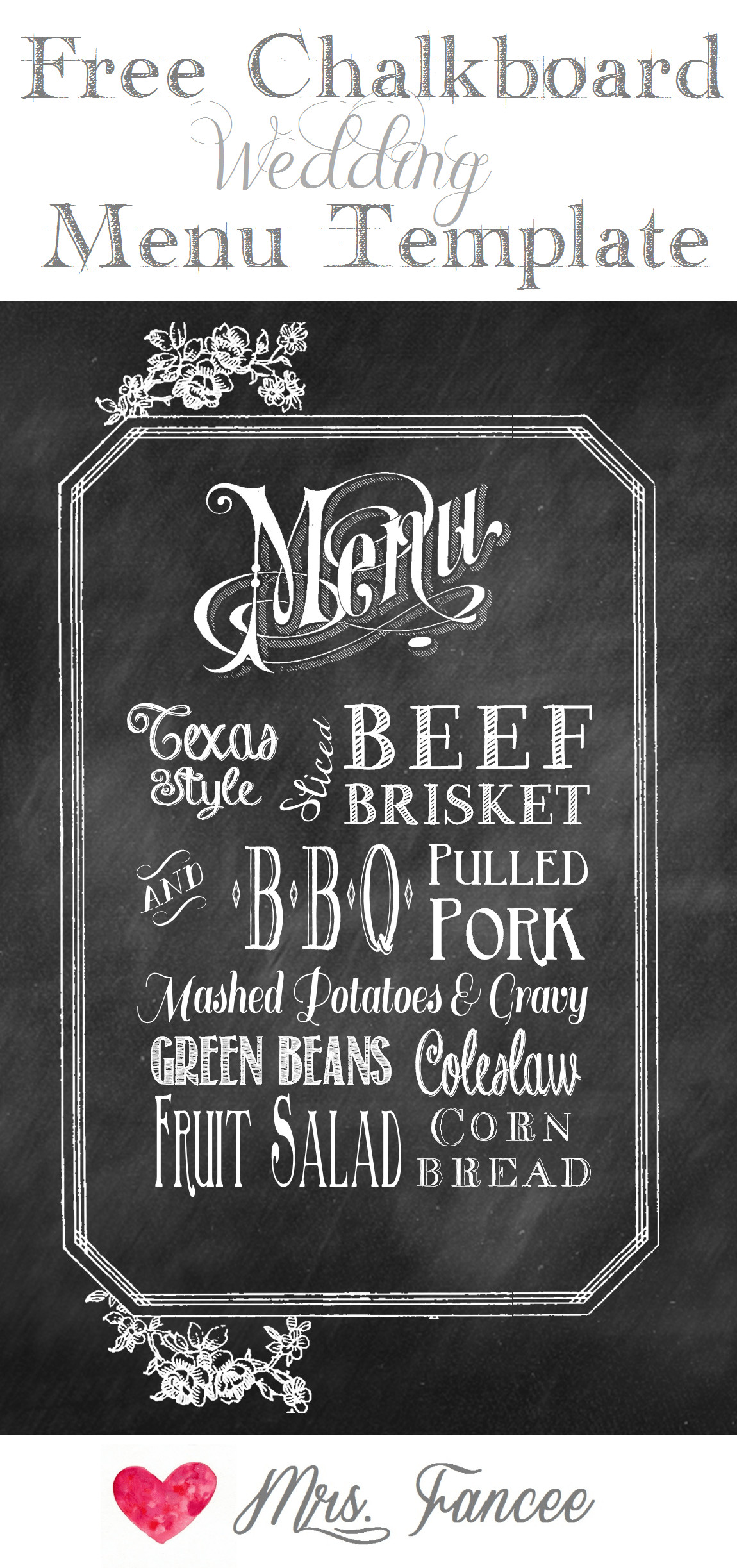 Chalkboard Template Microsoft Word Chalkboard Wedding Menu Free Template Mrs Fancee