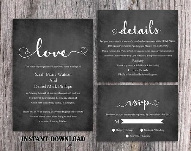 Chalkboard Template Microsoft Word Diy Wedding Invitation Template Set Editable Word File