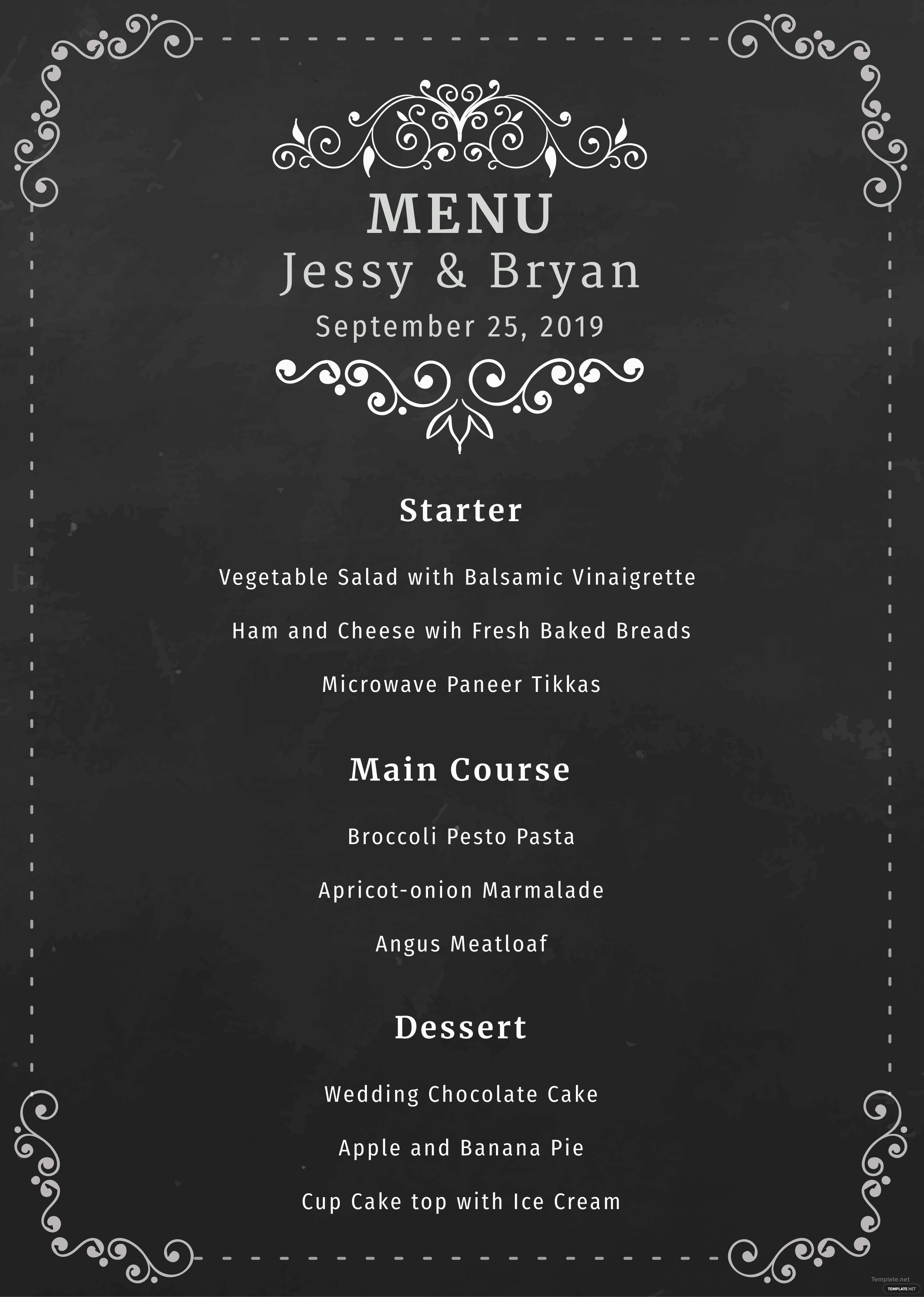 Chalkboard Template Microsoft Word Free Chalkboard Wedding Menu Template In Microsoft Word