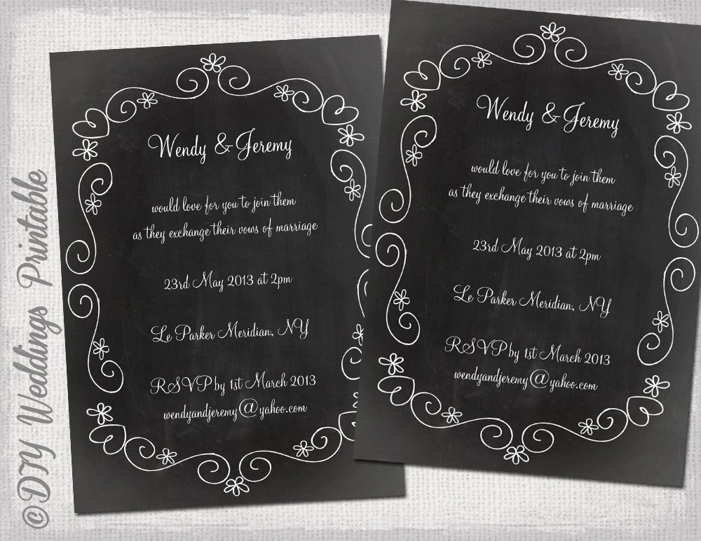Chalkboard Template Microsoft Word Wedding Invitation Template Chalkboard Diy Wedding