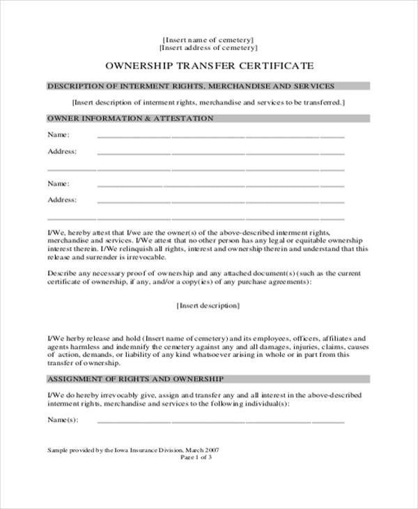 Change Of Ownership Letter Land Ownership Transfer Agreement Sample