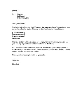 Change Of Ownership Letter Landlord Change Of Ownership Template