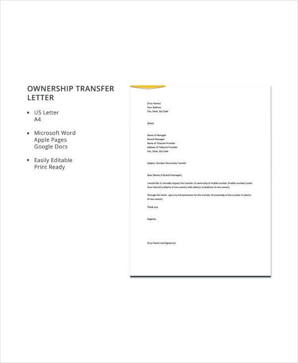Change Of Ownership Letter Notification Change Ownership Motor Vehicle