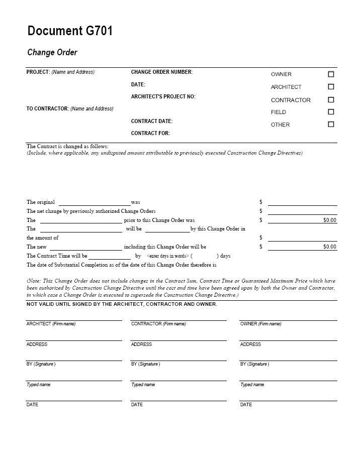 Change order forms Template Aia G701 Change order form Template for Excel Change