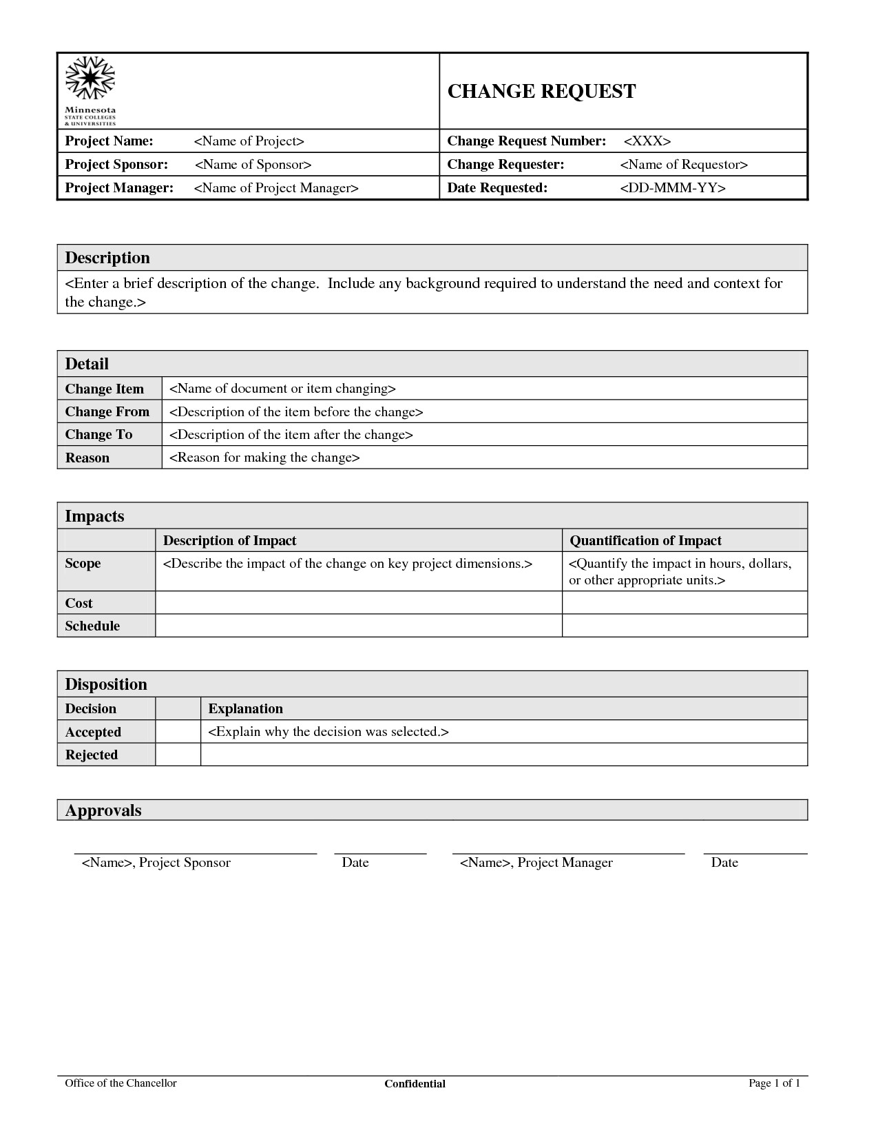 Change order forms Template Change order form Template