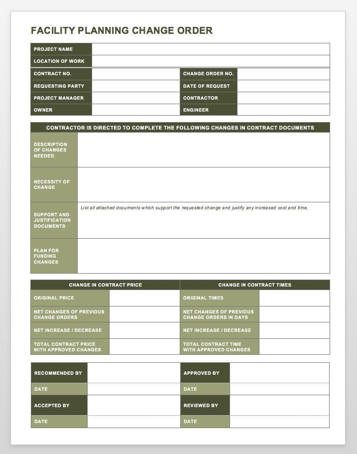 Change order forms Template Plete Collection Of Free Change order forms