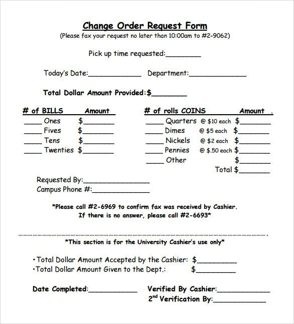 Change order forms Template Sample Change order – 11 Documents In Pdf Word