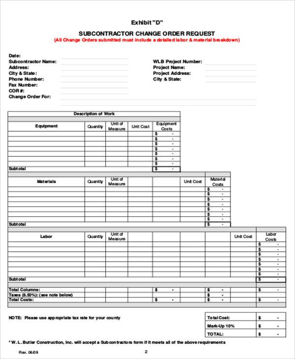 Change order forms Template Sample Change order Request form 9 Examples In Word Pdf