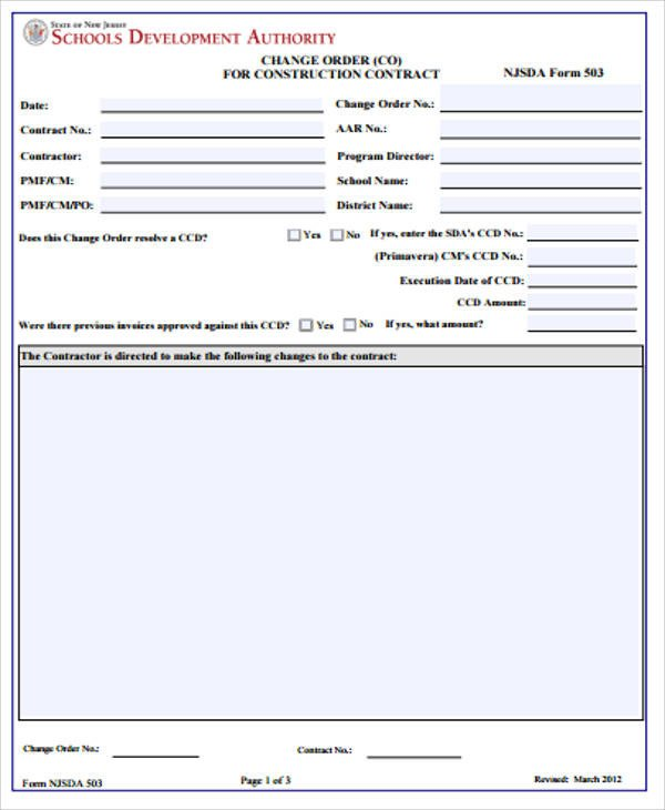 Change order forms Template Sample Construction Change order form 7 Examples In