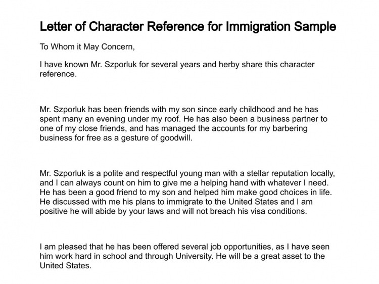 Character Letter for Immigration Letter Of Character Reference