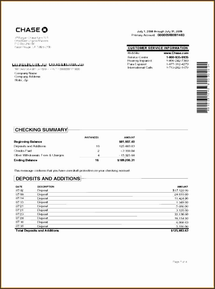 Chase Bank Statement Generator 7 Account Statement Template Sampletemplatess
