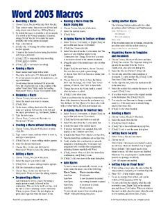 Cheat Sheet Template Word Amazon Microsoft Word 2003 Macros & Templates Quick