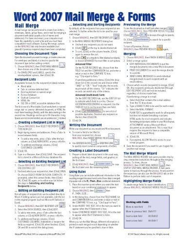 Cheat Sheet Template Word Bestseller Books Line Microsoft Word 2007 Mail Merge