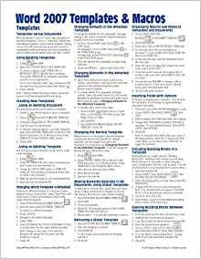Cheat Sheet Template Word Microsoft Word 2007 Templates & Macros Quick Reference