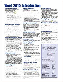Cheat Sheet Template Word Microsoft Word 2010 Introduction Quick Reference Guide