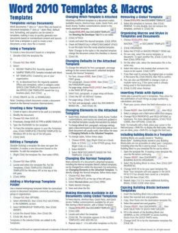 Cheat Sheet Template Word Microsoft Word 2010 Templates & Macros Quick Reference