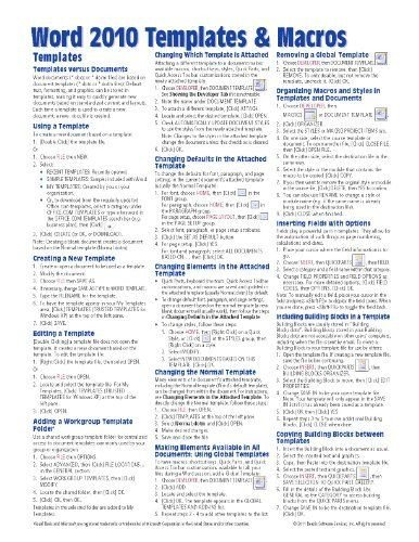 Cheat Sheet Template Word Microsoft Word 2010 Templates Macros Quick Reference Guide