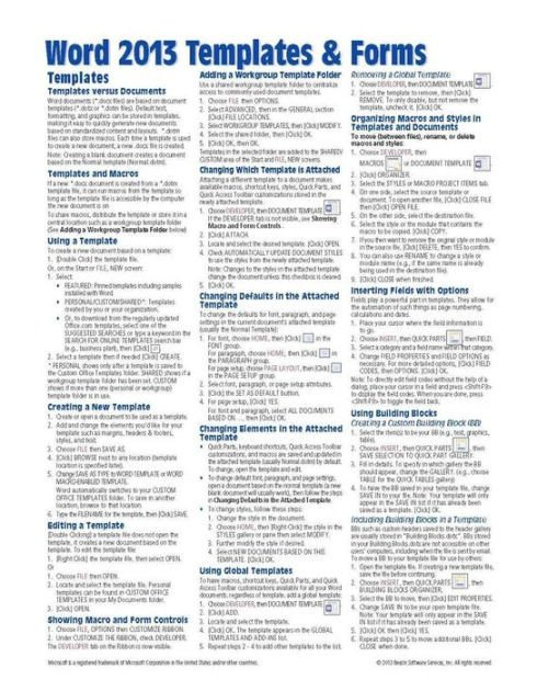 Cheat Sheet Template Word Microsoft Word 2013 Templates & forms Quick Reference