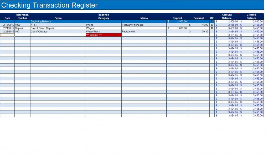 Check Register Template Excel How to Create A Checkbook Register In Excel