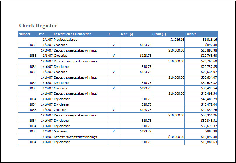 Check Register Template Excel Ms Excel Checkbook Register Template