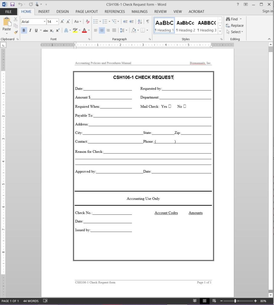 Check Request form Template Check Request Template