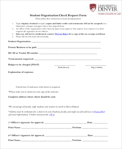 Check Request form Template Sample Check Request form 11 Examples In Word Pdf
