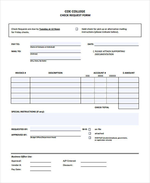 Check Request form Templates 26 Free Check Request form