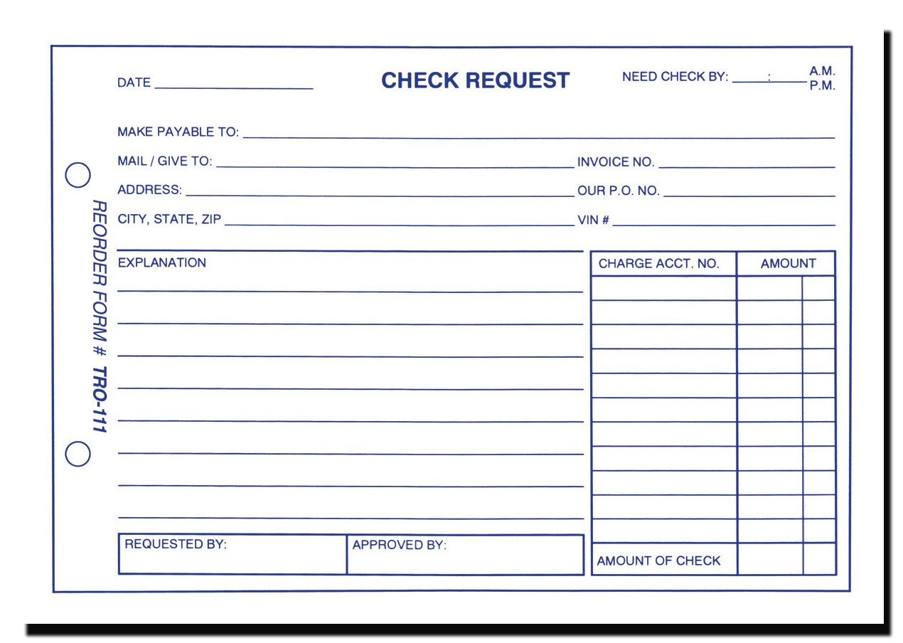 Check Request form Templates Check Request form form Tro 111
