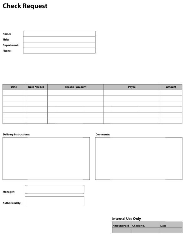 Check Request form Templates Pdf Templates